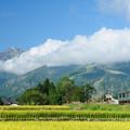八方尾根スキー場と五竜岳を背景に大糸線を走るE127系電車