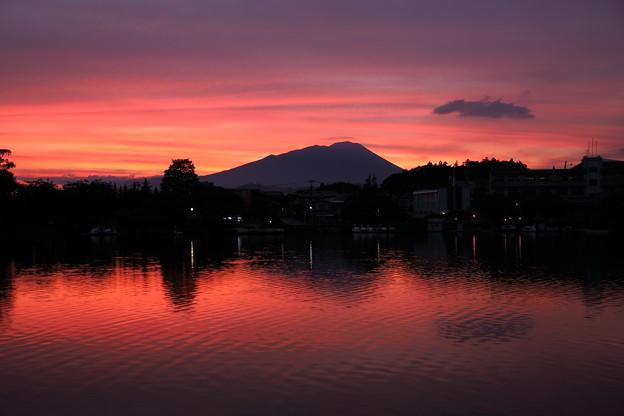 岩手山と夕焼け