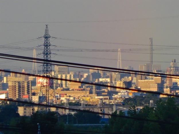 写真: 空気が澄んでるからか桃花台(小牧市)からも見えた、「名港中央大橋」と「中部電力千代田ビル」の電波塔 - 1