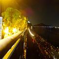 写真: 日本ライン夏まつり納涼花火大会 2015 No - 169:犬山城と伊木山と木曽川、そして帰宅する人たち