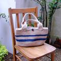 写真: マリンな麻ひもバッグ