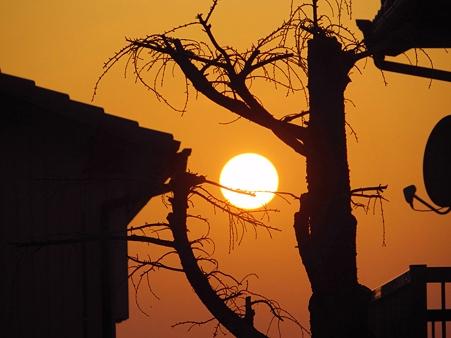 住宅地の夕陽
