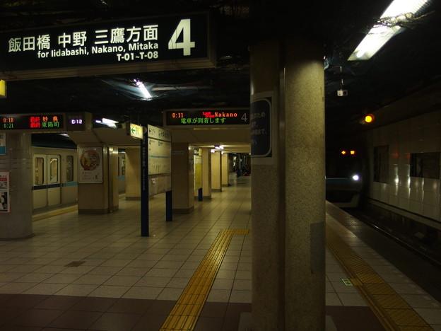東西線大手町駅 最終中野行接近