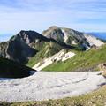 杓子岳と白馬鑓ヶ岳を望む
