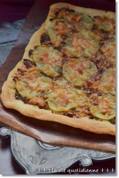 ジャガイモと明太子と大葉味噌のピザ