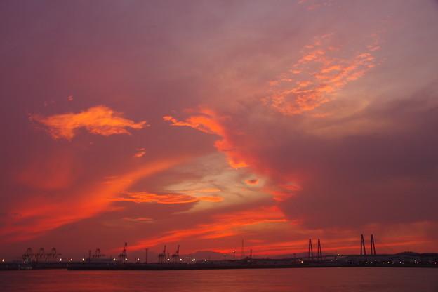 港湾の夕景、名古屋