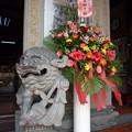 写真: 春節の献花と狛犬 Offered flowers & Foo Dog