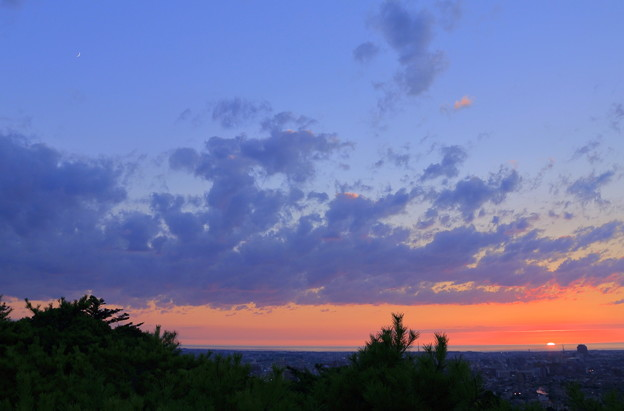 三日月と沈む夕日