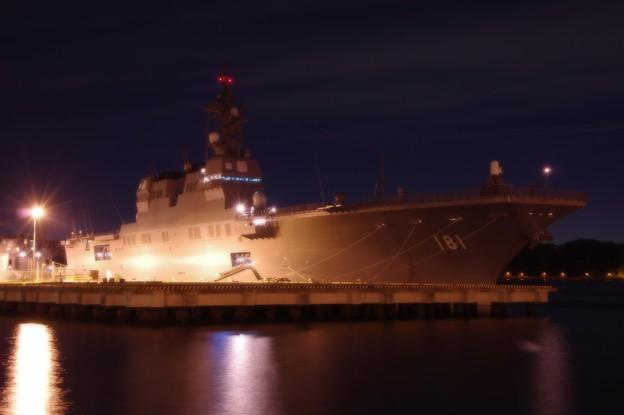 横須賀基地の夜 ヴェルニー公園から見る護衛艦ひゅうが・・20141223