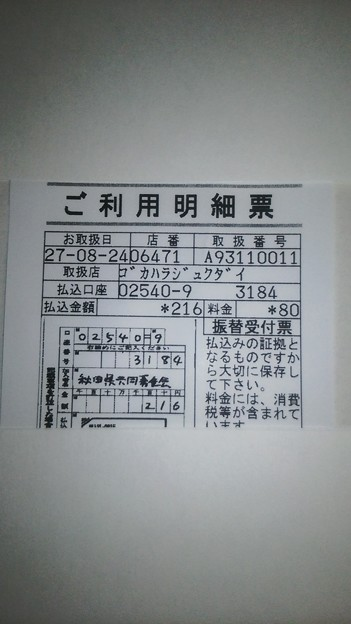 8月24日に秋田県共同募金会に寄付した明細書