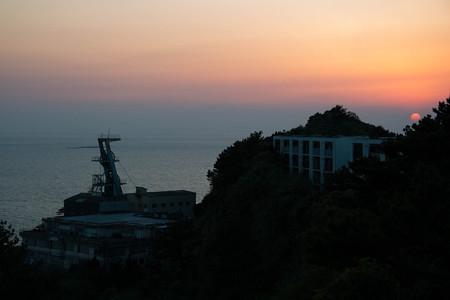 第二立坑と夕日