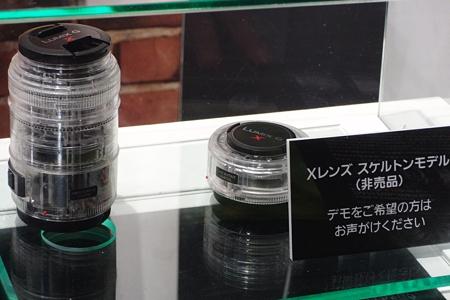 パナソニックのM4/3用レンズ、数少ないカメラの展示(パナソニック)