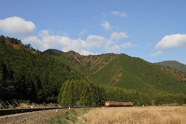 荷坂峠を目指して登り始める「波田須駅開業50周年号」
